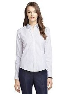 Non-Iron Fitted Thin Triple Dash Stripe Dress Shirt