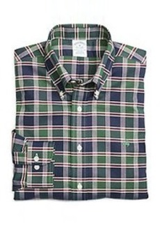 Non-Iron Slim Fit Dark Green Plaid Sport Shirt