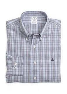 Non-Iron Slim Fit Glen Plaid Sport Shirt