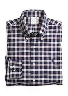 Non-Iron Slim Fit Navy Check Sport Shirt
