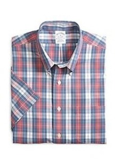 Non-Iron Slim Fit Plaid Short-Sleeve Sport Shirt
