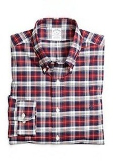 Non-Iron Slim Fit Red Plaid Sport Shirt
