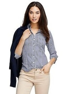 Non-Iron Three-Quarter Sleeve Gingham Dress Shirt