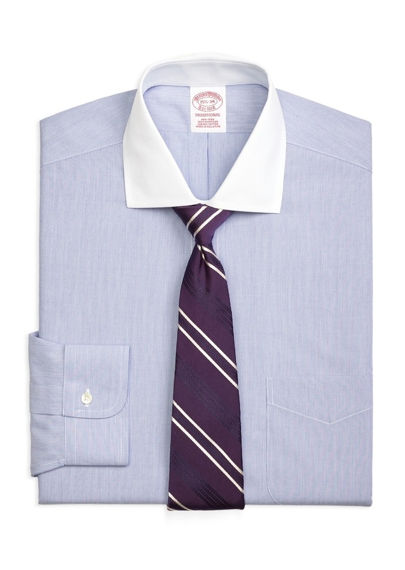 brooks brothers non iron traditional fit contrast english