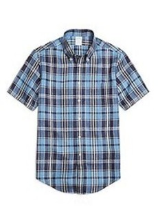 Regent Fit Blue Plaid Linen Short-Sleeve Sport Shirt