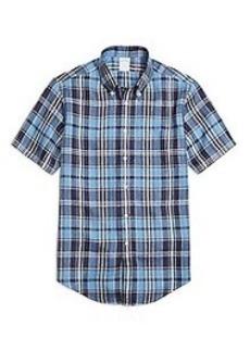 Regent Fit Blue Plaid Linen Short-Sleeve Sport Shirt