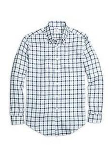 Regent Fit Gingham Linen Sport Shirt
