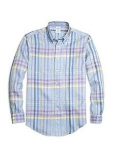 Regent Fit Plaid Linen Sport Shirt