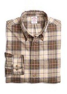 Regular Fit Khaki Plaid Flannel Sport Shirt