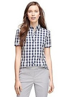 Short-Sleeve Cotton Gingham Shirt
