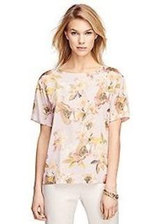 Short-Sleeve Floral Silk Blouse