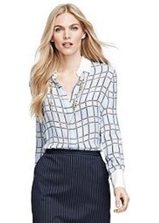 Silk Houndstooth Blouse