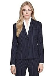 Stellita Fit Two-Button Wool Pinstripe Jacket
