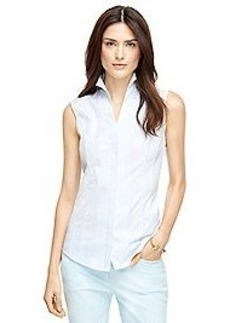 Stripe Cotton Sleeveless Shirt