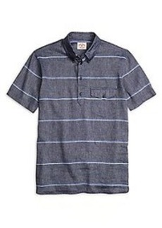 Stripe Popover Short-Sleeve Sport Shirt