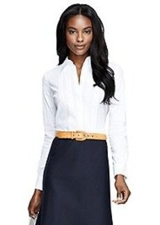 Tailored Fit Tuxedo Front Blouse