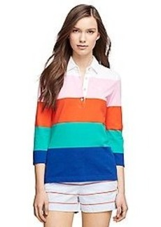 Three-Quarter Sleeve Color-Block Polo Shirt