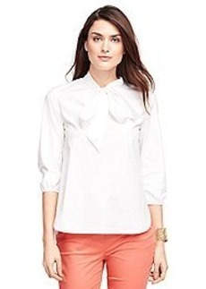 Three-Quarter Sleeve Cotton Shirt with Bow