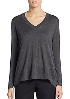 Brunello Cucinelli Cashmere & Silk Heathered Hi-Lo Top