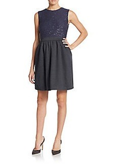 Brunello Cucinelli Cashmere & Silk Sequined A-Line Dress