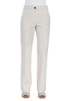 Brunello Cucinelli Cotton Flat Front Wide Leg Pant, Oak