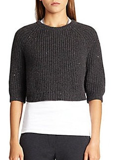 Brunello Cucinelli Cropped Cashmere & Silk Sequin Sweater