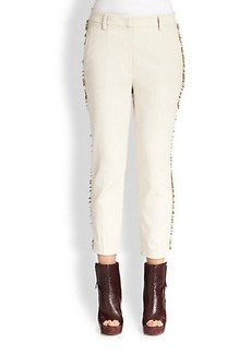 Brunello Cucinelli Cropped Fringe-Trim Wool Pants