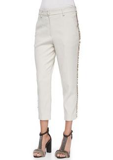 Brunello Cucinelli Cropped Paillette-Stripe Pants