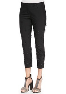 Brunello Cucinelli Cropped Sequined-Fringe Pants