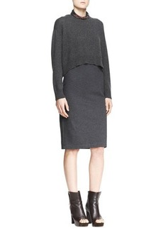 Brunello Cucinelli Cropped Sweater & Sleeveless Dress, Two-Piece Set