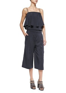 Brunello Cucinelli Culottes Jumpsuit with Monili Straps