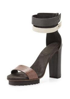 Brunello Cucinelli Double-Ankle-Wrap Platform Sandal, Black Multi