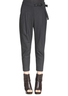 Brunello Cucinelli Embellished-Belt Ankle Trousers