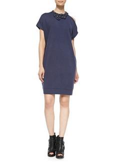 Brunello Cucinelli Embellished Cold-Shoulder Dress