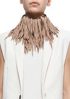 Brunello Cucinelli Feathered Silk Fringe Necklace, Biscotti