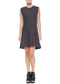 Brunello Cucinelli Felpa Sleeveless High-Low Swing Dress, Graphite