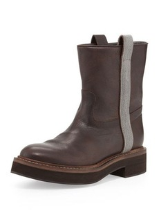 Brunello Cucinelli Flat Ankle Boot with Ball-Chain Trim, Grayish Brown