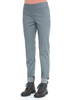 Brunello Cucinelli Flat-Front Twill Pants, Army Green