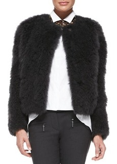 Brunello Cucinelli Goat Fur Snap-Front Jacket, Graphite