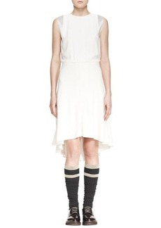 Brunello Cucinelli Jewel-Neck Blouson High-Low Silk Dress