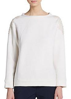Brunello Cucinelli Lace Appliqué Virgin Wool & Cashmere Sweater