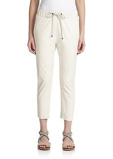 Brunello Cucinelli Leather Drawstring Pants