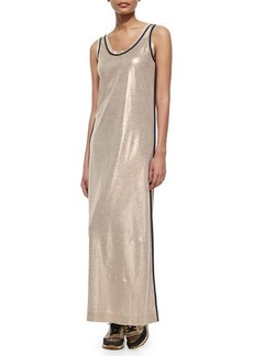 Brunello Cucinelli Metallic Linen Long Tank Dress