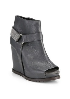 Brunello Cucinelli Monili Beaded Harness Leather Wedge Ankle Boots