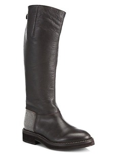 Brunello Cucinelli Monili Beaded Leather Knee-High Riding Boots