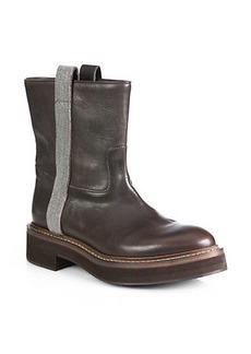 Brunello Cucinelli Monili Beaded Mid-Calf Leather Biker Boots