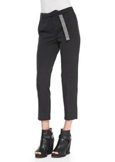 Brunello Cucinelli Monili-Belt Pinstripe Ankle Pants