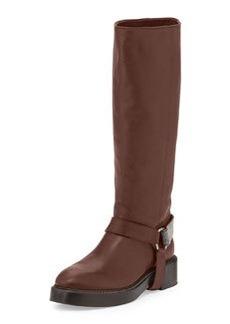 Brunello Cucinelli Monili Halter Leather Knee Boot, Espresso