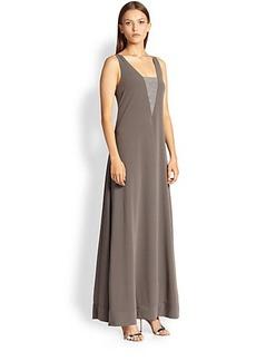 Brunello Cucinelli Monili-Insert Silk Gown