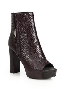 Brunello Cucinelli Monili Pebbled Leather Open-Toe Ankle Boots